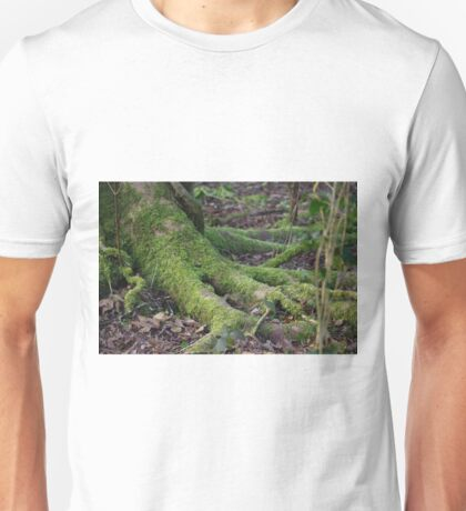 Moss on tree roots Unisex T-Shirt