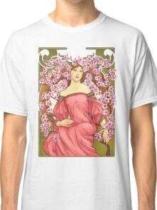 Girl with Cherry Blossoms: original hand-drawn illustration inspired by Alphonse Mucha  Classic T-Shirt