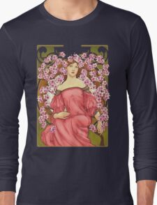 Girl with Cherry Blossoms: original hand-drawn illustration inspired by Alphonse Mucha  Long Sleeve T-Shirt