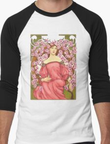 Girl with Cherry Blossoms: original hand-drawn illustration inspired by Alphonse Mucha  Men's Baseball ¾ T-Shirt