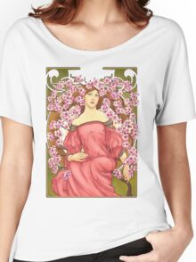 Girl with Cherry Blossoms: original hand-drawn illustration inspired by Alphonse Mucha  Women's Relaxed Fit T-Shirt