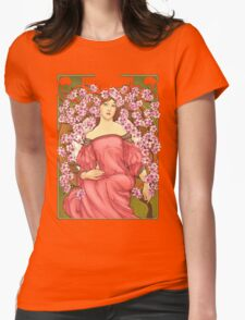 Girl with Cherry Blossoms: original hand-drawn illustration inspired by Alphonse Mucha  Womens Fitted T-Shirt