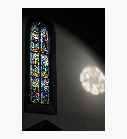 Lights and Colors - Stained Glass Church Window Photographic Print