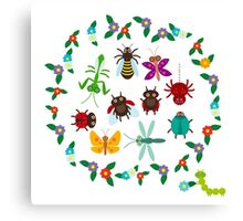 Funny insects circle Canvas Print
