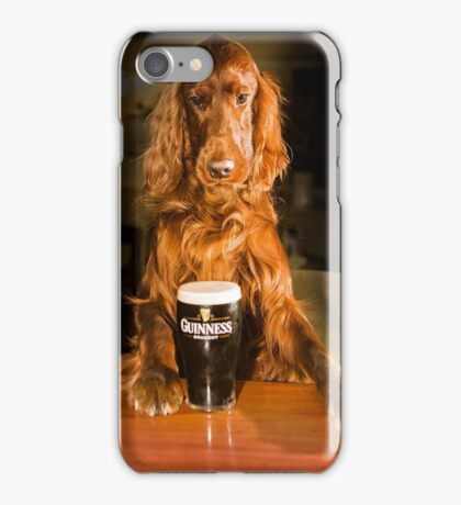 Irish seter with pint of stout iPhone Case/Skin