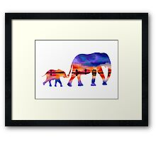 Elephant  Sunset  Silhouette  Framed Print