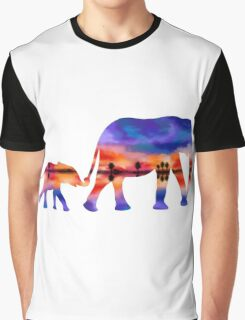 Elephant  Sunset  Silhouette  Graphic T-Shirt