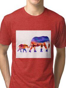Elephant  Sunset  Silhouette  Tri-blend T-Shirt