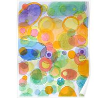 Vividly interacting Circles Ovals and Free Shapes Poster