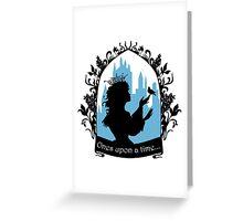 Beautiful  princess silhouette with singing bird Greeting Card