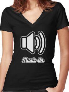 Music On (White on Black) Women's Fitted V-Neck T-Shirt