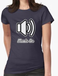Music On (White on Black) Womens Fitted T-Shirt