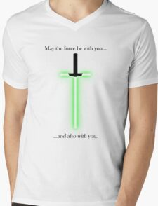 """""""may the force be with you... and also with you"""" Mens V-Neck T-Shirt"""