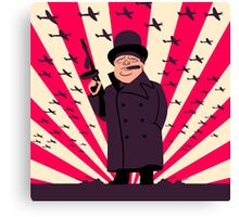 Churchill with a Tommy Gun Canvas Print