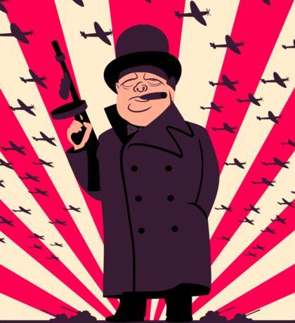 Churchill with a Tommy Gun Sticker