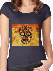 Fire Skull Women's Fitted Scoop T-Shirt