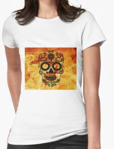 Fire Skull Womens Fitted T-Shirt