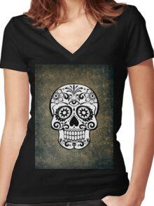 Modern Skull Women's Fitted V-Neck T-Shirt