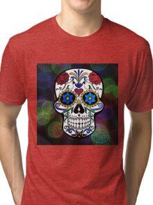 Skull with Bokeh Background Tri-blend T-Shirt