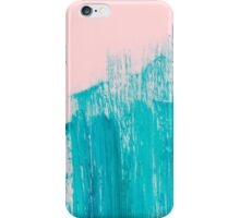 Bright Teal Painted Brushstrokes on Pastel Pink iPhone Case/Skin