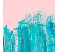 Bright Teal Painted Brushstrokes on Pastel Pink Photographic Print
