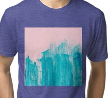 Bright Teal Painted Brushstrokes on Pastel Pink Tri-blend T-Shirt