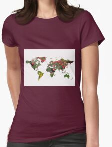 Flowers collage world map Womens Fitted T-Shirt