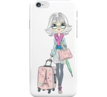 Fashion girl with suitcases iPhone Case/Skin