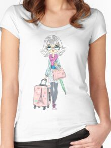 Fashion girl with suitcases Women's Fitted Scoop T-Shirt