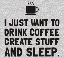 Coffee Create Sleep Kids Tee