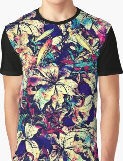 Contemporary Chic Watercolor Dragon Lilies Flowers Graphic T-Shirt