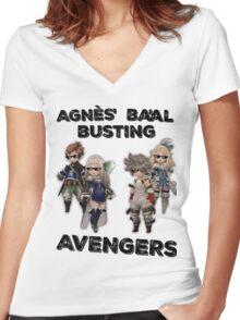 Bravely Second - Agnès' Ba'al Busting Avengers (Thug ver.) Women's Fitted V-Neck T-Shirt