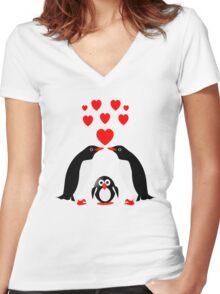 Penguins family Women's Fitted V-Neck T-Shirt