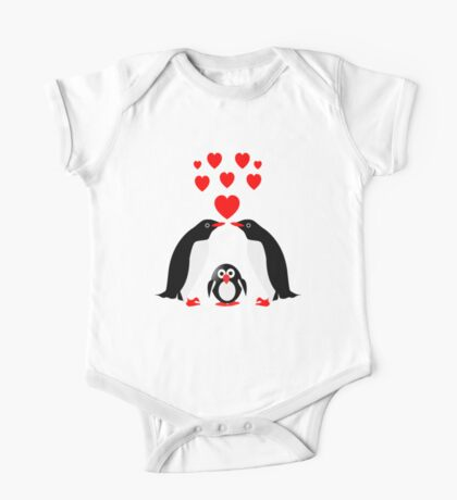 Penguins family One Piece - Short Sleeve
