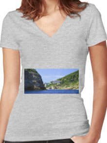 Entering Cala Llonga Bay Women's Fitted V-Neck T-Shirt