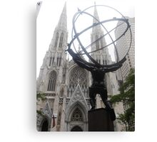 Atlas and St Patrick's Cathedral Canvas Print
