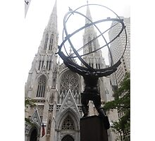 Atlas and St Patrick's Cathedral Photographic Print