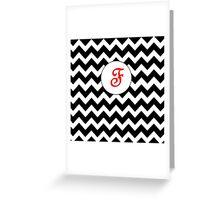 Red F Chevron Greeting Card