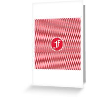 F Red Chevron Greeting Card