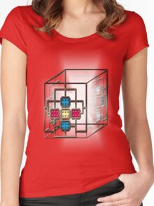 Electronic square light core Women's Fitted Scoop T-Shirt