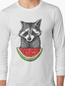 Racoon and watermelon Long Sleeve T-Shirt