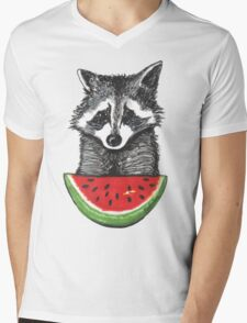 Racoon and watermelon Mens V-Neck T-Shirt