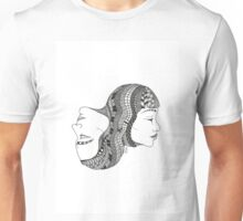 Gemini Twin Black and White Illustration Unisex T-Shirt