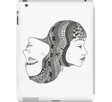 Gemini Twin Black and White Illustration iPad Case/Skin