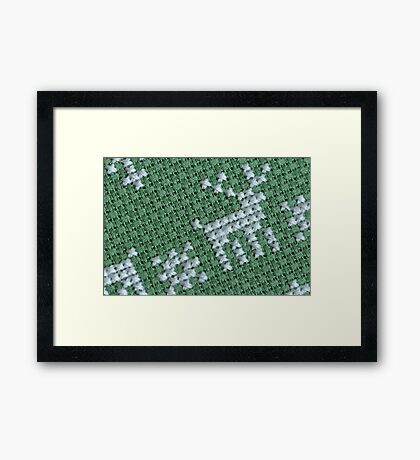 embroidery cross-stitch pattern with deer Framed Print