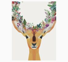 Baby Fawn Nature Floral Wreath Wildlife Boho Baby Tee