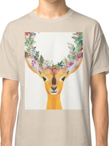 Baby Fawn Nature Floral Wreath Wildlife Boho Classic T-Shirt