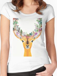 Baby Fawn Nature Floral Wreath Wildlife Boho Women's Fitted Scoop T-Shirt