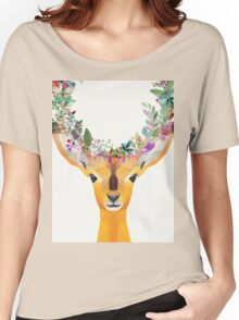 Baby Fawn Nature Floral Wreath Wildlife Boho Women's Relaxed Fit T-Shirt
