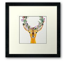 Baby Fawn Nature Floral Wreath Wildlife Boho Framed Print